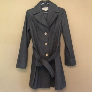 Michael Kors Gray Wool Belted Pea Coat 2